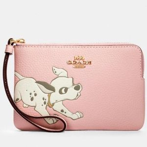 Disney X Coach Corner Zip Wristlet With Dalmatian